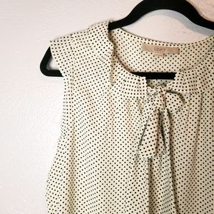 LOFT polka dot sleeveless tie neck sleeveless top